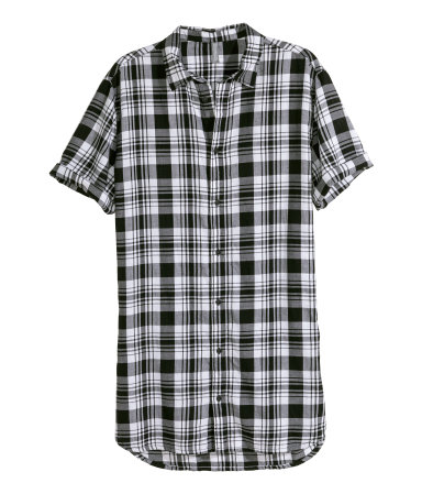 Long cotton shirt black white checked sale h m us for Black and white checker shirt