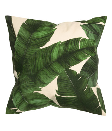 patterned cushion cover dark green leaf h m home h m us. Black Bedroom Furniture Sets. Home Design Ideas
