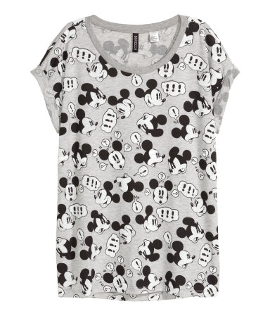 t shirt with printed design gray mickey mouse sale h. Black Bedroom Furniture Sets. Home Design Ideas