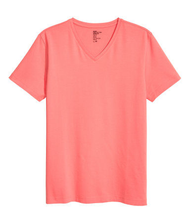 V Neck T Shirt Slim Fit Coral Men H M Us