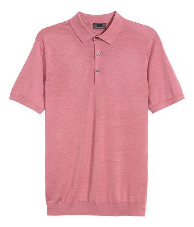 Silk blend polo shirt pink men h m us for H m polo shirt mens