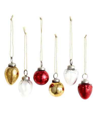 6 pack christmas ornaments gold red home h m us for H m christmas decorations