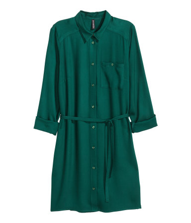 Shirt dress emerald green sale h m us Emerald green mens dress shirt