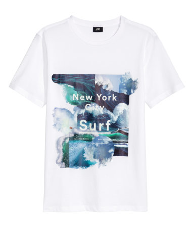 T shirt with printed design white new york sale h m us for New york printed t shirts