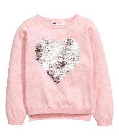 sweater with sequins light pink heart kids h m us. Black Bedroom Furniture Sets. Home Design Ideas