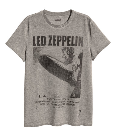 t shirt with printed motif gray led zeppelin sale h m us