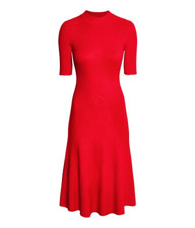 ribbed dress red sale h m us. Black Bedroom Furniture Sets. Home Design Ideas