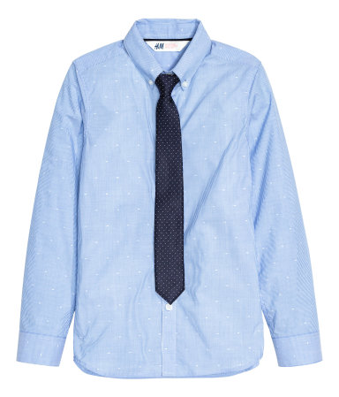 Shirt with tie bow tie blue striped sale h m us for Blue striped shirt with tie