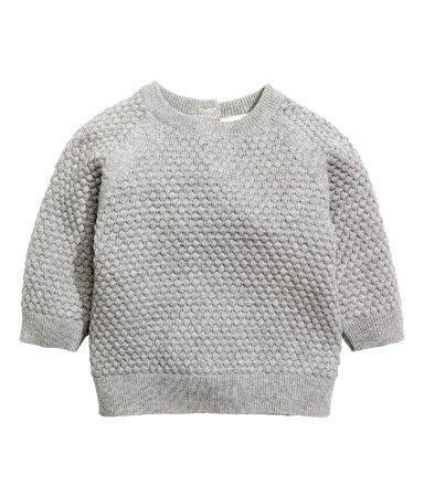 Moss Stitch Jumper Knitting Pattern : Moss-stitch Sweater Gray melange Kids H&M US