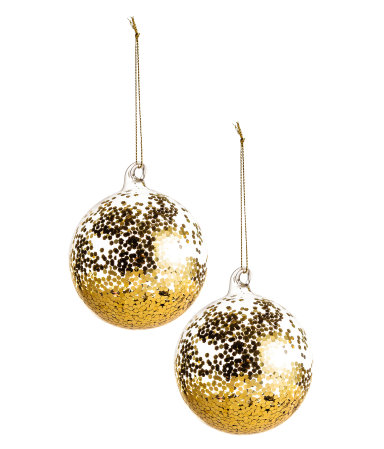 2 pack christmas ornaments gold colored sale h m us for H m christmas decorations