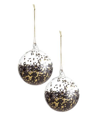 2 pack christmas ornaments black gold colored h m home. Black Bedroom Furniture Sets. Home Design Ideas