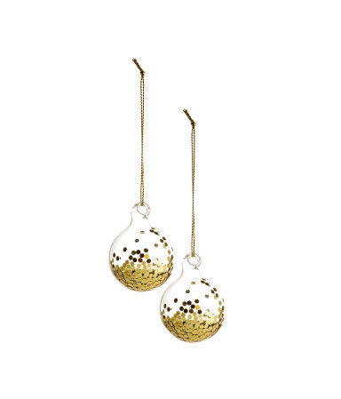 2 pack christmas ornaments gold colored home h m us for H m christmas decorations