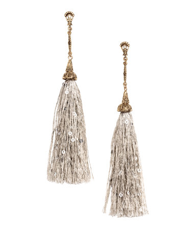 long earrings with tassels light gray sale h m us. Black Bedroom Furniture Sets. Home Design Ideas