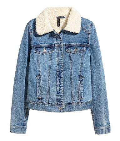 Pile-lined Denim Jacket | Denim blue | SALE