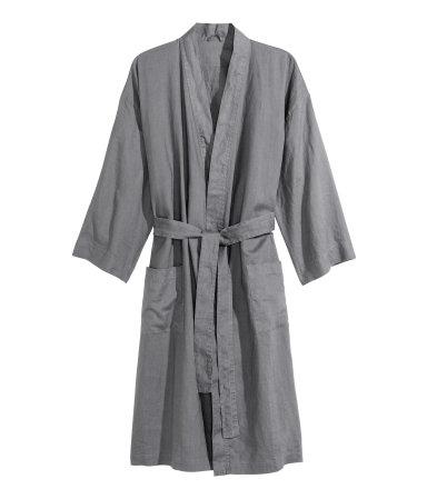 washed linen bathrobe gray h m home h m us. Black Bedroom Furniture Sets. Home Design Ideas