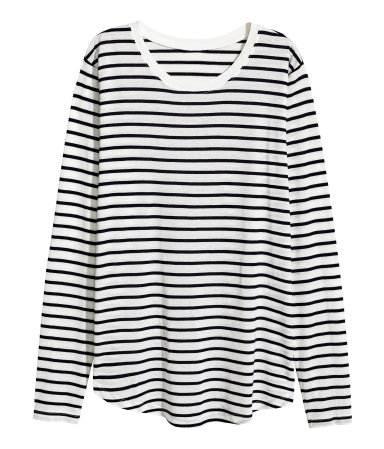 Long sleeved top white black striped women h m us for Black and white striped long sleeve shirt women