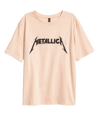 t shirt with printed design beige metallica women h m us. Black Bedroom Furniture Sets. Home Design Ideas