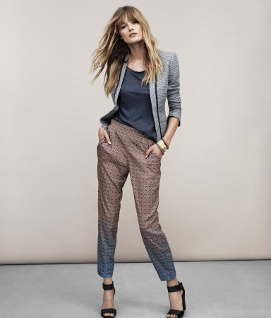 H&M pants :  pants printed slim pattern