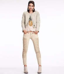 Embroidered ankle-length jeans