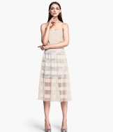 Calf-length pleated skirt
