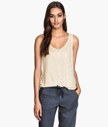 Sleeveless top in linen jersey
