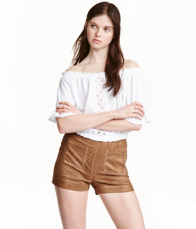 H&M Womens Imitation Suede Shorts
