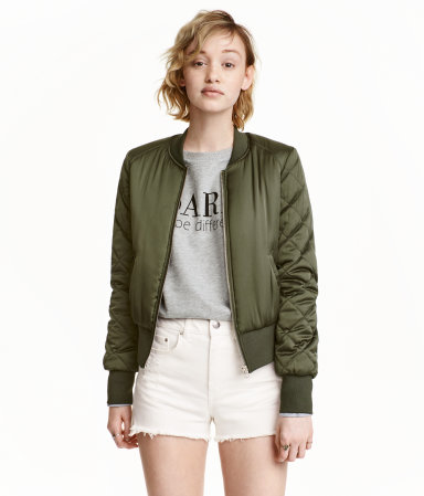 Bomber Jacket Khaki Green Ladies H Amp M Us