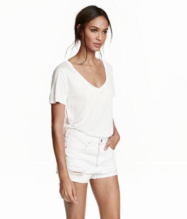neck Top | White | Ladies | H&M US