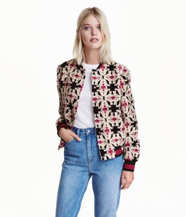 Patterned Bomber Jacket | Black/patterned | Women | H&M US