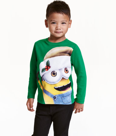 Long-sleeved Christmas T-Shirt Kids Minions