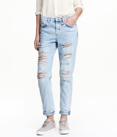 Boyfriend Low Ripped Jeans | Light denim blue | Women | H&M US