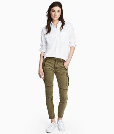 Lyocell-blend Cargo Pants | Khaki green | Women | H&M US
