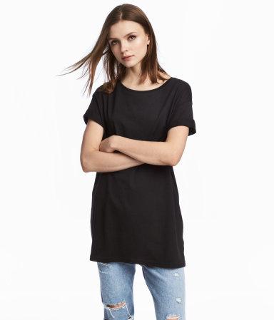 Long T-shirt | Black | WOMEN | H&M US