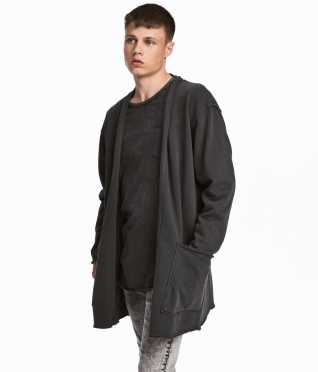 Long Hooded Cardigan | Black washed out | SALE | H&M US