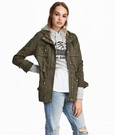 Short Parka with Hood | Dark khaki green | WOMEN | H&M US