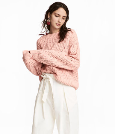 Loose-knit Sweater | Powder pink | WOMEN | H&M US