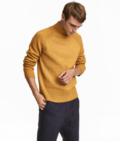 Knit Mock Turtleneck Sweater | Dark yellow | MEN | H&M US