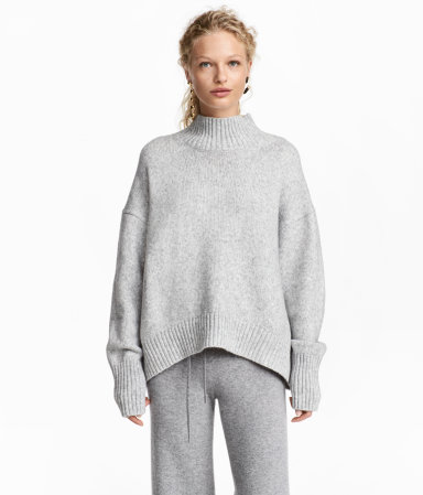 Knit Turtleneck Sweater | Light gray melange | WOMEN | H&M US