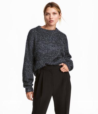 Knit Sweater   Dark blue/glitter   WOMEN   H&M US