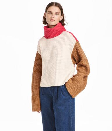 Wide-cut Turtleneck Sweater | White/pink/camel | WOMEN | H&M US