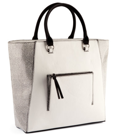 H&M Bag :  black white silver bag