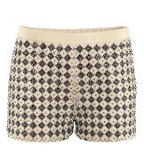 Shorts in chiffon con perline