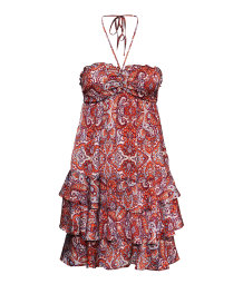 Paisley-patterned tiered dress