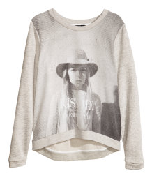 Sweatshirt with Woven Front