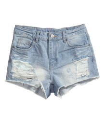 Trashed jeans short
