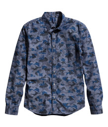 Patterned chambray shirt