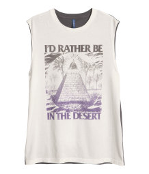 Sleeveless print T-shirt