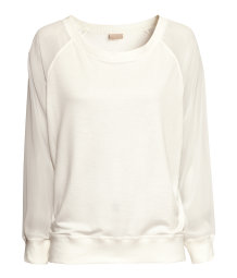 Sweatshirt with sheer sleeves