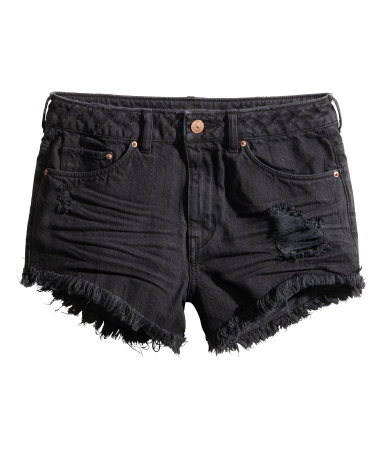Distressed Denim Shorts | Black | Women | H&M US