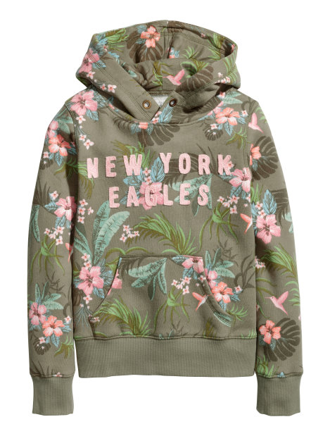 Hooded top with a print